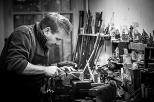 English Gunmaker L. W. Butler at work